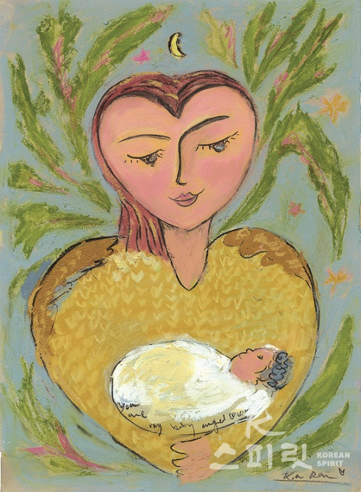 The mother , 2019. Oil pastel, charcoal and on paper, 32 x 41cm, Kim Ran. [사진=갤러리도스]