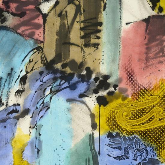 이른 봄, 종이에 먹, 잉크, 아크릴릭 잉크, 194×1300cm (10폭), 2020_2021(상세이미지 01). [사진제공=페리지갤러리]