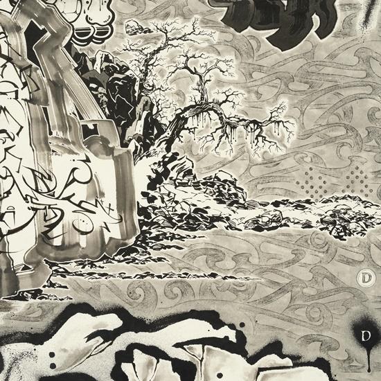 이른 봄, 종이에 먹, 잉크, 아크릴릭 잉크, 194×1300cm (10폭), 2020_2021(상세이미지 03) [사진제공=페리지갤러리]