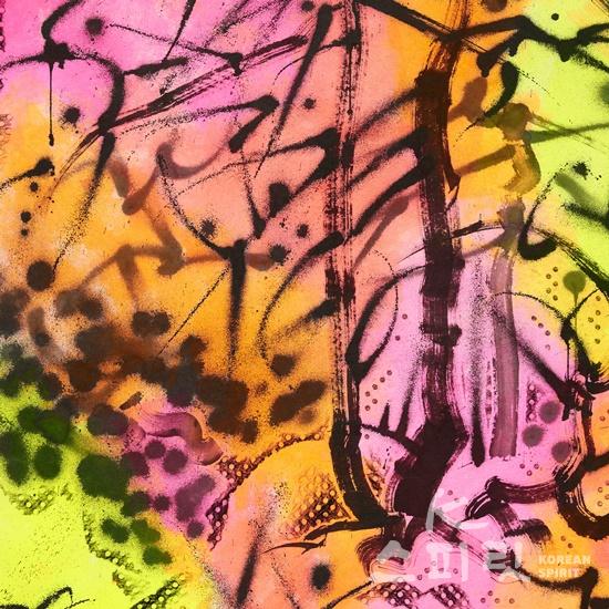 이른 봄, 종이에 먹, 잉크, 아크릴릭 잉크, 194×1300cm (10폭), 2020_2021(상세이미지 10) [사진제공=페리지갤러리]